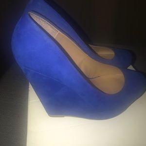 Blue suede wedges Aldo size 6